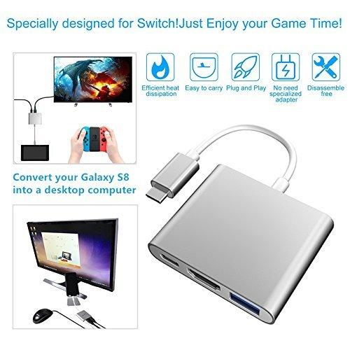 goodex Dock Set für Nintendo Schalter, DEX Desktop-PC Station für Samsung Galaxy S8, USB Typ C Konverter zu HDMI Adapter Hub für Projektor TV Monitor für MacBook/Chromebook (Silber) (Samsung Hdmi-konverter)