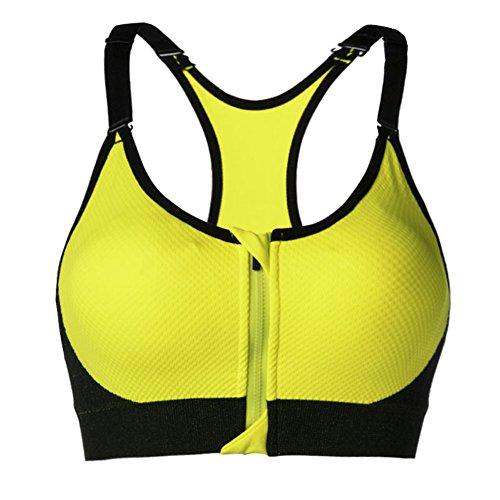 Cliont senza giunte delle donne Reggiseno sportivo Zipper cinghie larghe High Impact maglia della parte superiore Comfort Shapewear esecuzione jogging Bras Yoga Giallo