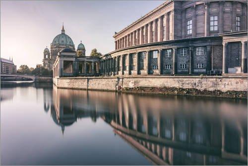 Posterlounge Leinwandbild 130 x 90 cm: Museumsinsel und Berliner Dom am Morgen von Philipp Dase - fertiges Wandbild, Bild auf Keilrahmen, Fertigbild auf echter Leinwand, Leinwanddruck