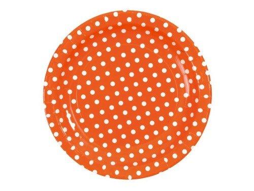 Pappteller Dots, orange mit weißen Punkten, D: 23 cm, 10 Stück, Partygeschirr Polterabend Grillfeier