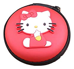 108 Bestbuy Hellokitty Earphone Pouch Case Coins Pouch Bag Case Pouch(Red)
