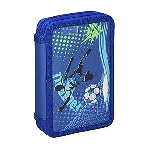 Spirit Estuche Escolar con diseño de fútbol, Color Azul