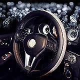 MIAO Schutzfolien von Lenkrad, Durchmesser 38 cm Vier Jahreszeiten Universal Frauen Mode Personalisierte Diamant Leder Auto Lenkradabdeckung , white