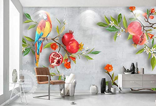 Wdbzd 3D Tapeten Tapete 3D Handgemaltes Pastorales Wind-Granatapfel-Papagei-Hintergrund-Wand-Wohnzimmer-Schlafzimmer Fernsehhintergrundtapete-300Cmx250Cm -