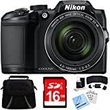Nikon COOLPIX B500 16MP 40x Optical Zoom Digital Camera w/ Built-in Wi-Fi 16GB Bundle includes Camera, Bag, 16GB Memory Card, Reader, Wallet, Screen Protectors, Cleaning Kit and Beach Camera Cloth