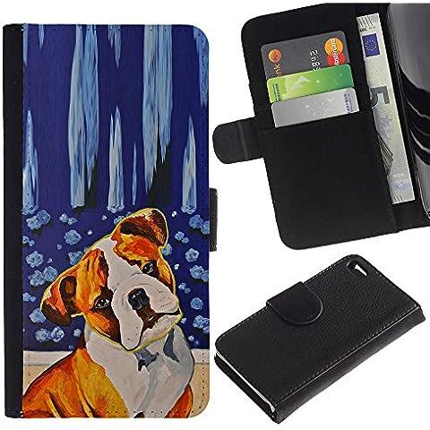 Red Fawn Boxer American Bull Terrier Dog - la tarjeta de Crédito Slots PU Funda de cuero Monedero caso cubierta de piel Apple iPhone 4 / iPhone 4S / 4S