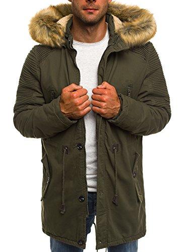 OZONEE Herren Winterjacke Parka Jacke Kapuzenjacke Wärmejacke Wintermantel Coat AK-CLUB YL003 KHAKI M