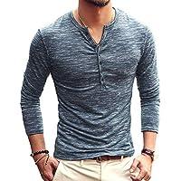 AITFINEISM Mens Casual Slim Fit Basic Henley Long Sleeve T-Shirt (Medium, Blue)