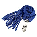 GirlZ! Trendy Scarf/Stole with Retro Owl Pendant - Blue