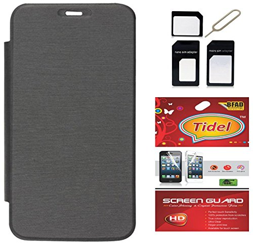 Tidel Black Premium Flip Cover For Micromax Bolt A71 With Tidel Screen Guard & Micro /Nano SIM Adapter  available at amazon for Rs.198
