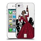 Head Case Designs Schwarze Frau In Einem Roten Kleid Wein Fest Soft Gel Hülle für iPhone 4 / iPhone 4S