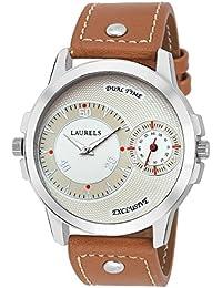 Laurels Ivory Color Analog Men's Watch With Strap: LWM-DKE-010907
