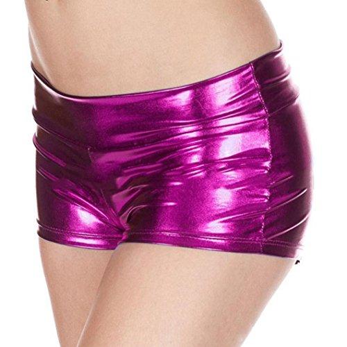 lingerie Damen,Yanhoo Heiße Mode Frauen Pearl G-String und Metallische Rave Booty Dance Shorts nachgemachte Licht Frauen kurze Unterwäsche (Hot Pink, Freie Größe) (Booties Mode)