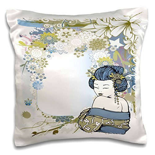 Modern Vector Art Muted Blues and Tans Flowers Asian Floral and Geisha Girl Woman-Pillow Case, 16 by 16