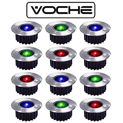 Voche® Pack of 12 Wireless Solar Powered Rechargeable Colour Changing LED Stainless Steel Garden Deck Lights from Voche®