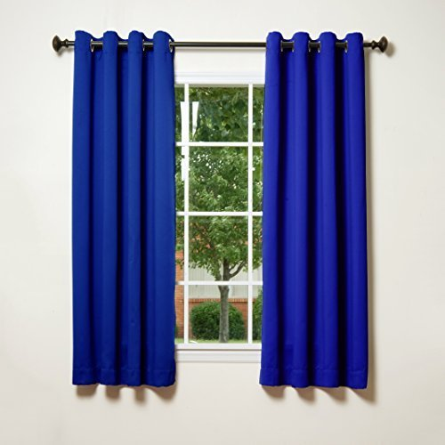 Best Home Fashion Thermal Insulated Blackout Curtains - Stainless Steel Nickel Grommet Top - Royal Blue - 52W x 63L - (Set of 2 Panels) by Best Home Fashion