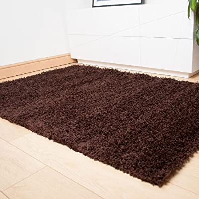 Brown Dominica Quality Deep Pile Shaggy Rug produced by 247Floors - quick delivery from UK.