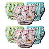 CRACK4DEAL Synthetic Reusable Waterproof and Washable Baby Diaper Pants for Kids (Multicolour, Green, Blue, Purple, 0-6 Months, Small) Pack of 6