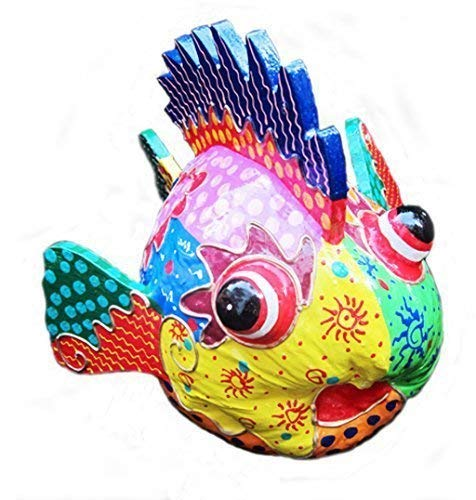 Double Duck Decorativo Brillantemente Pintado Peces Tropicales Hecho De A Coco
