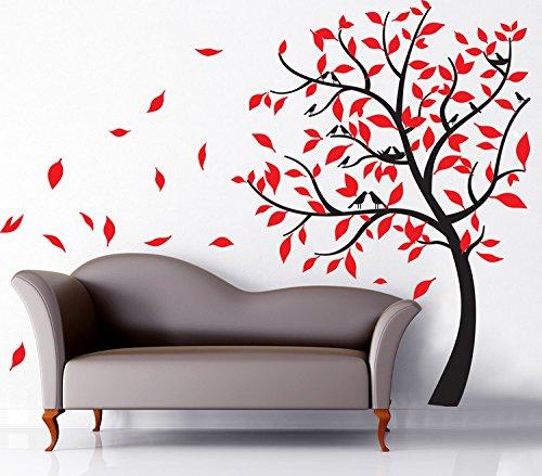 Yanqiao Vögel Springen und Lachen auf Baum Wandtattoo Wandaufkleber Wand Aufkleber DIY für Wohnzimmer Schlafzimmer Kinderzimmer Entfernbares Vinyl Kunst Haus Dekoration Größe 230x180cm,Rot Baum-entfernbare Wand-kunst