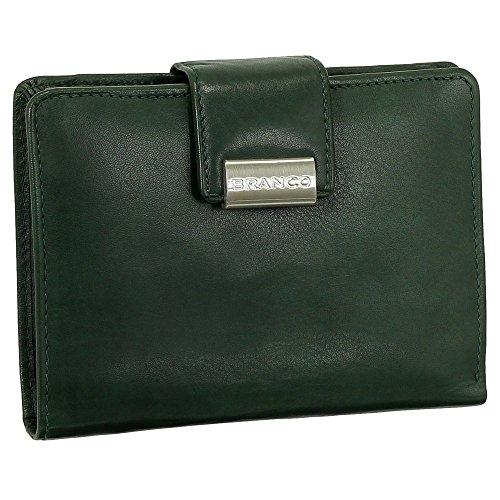 Luxus Leder Damen Geldbörse Portemonnaie Geldbeutel XXL mit Druckknopf 10 cm Farbe grün (Grün Leder-geldbörse)