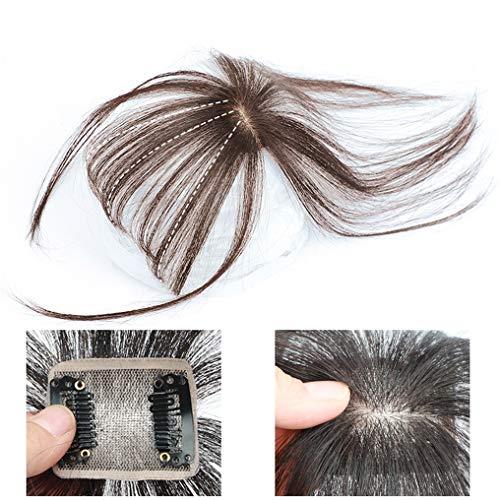 Echthaar Mono Toppers Clip-In Unsichtbare 3D Pony Haarteile Handarbeit Pony für Frauen - Crown Hair Extensions