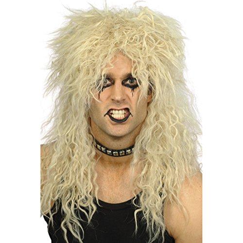 Amakando Langhaarperücke 80er Jahre Perücke Rocker blond Rockstar Faschingsperücke Faschingsperücke Hardrock Karnevalsperücke Herrenperücke Langhaar