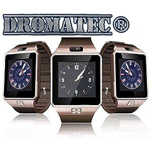 DROMATEC® SW09 Gold Smartwatch Reloj gsm 2G Cámara Bluetooth Podómetro Modo de suspensión para Android y iPhone iOS 11