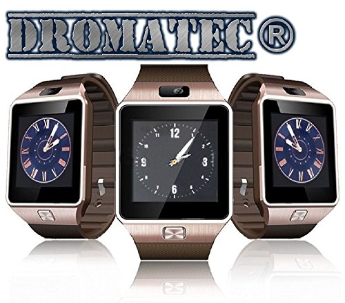 DROMATEC SW09 Smartwatch GOLD Smart Watch Bluetooth Text Message Sim Card Camera Podometer Alarm Sleeping Mode Smart Watch Touch Screen For Iphone IOS And Android