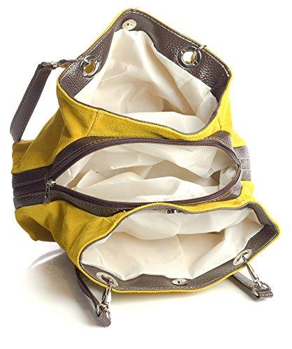 Big Handbag Shop - Borse a spalla donna Lime Green - Black Trim