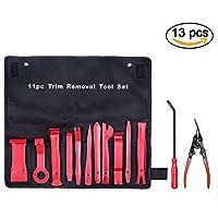 Kit de 13 pcs Outils Démontage Garniture Intérieure,Mookis Outil de Démontage Plastique et Garniture Auto,Removal Tool pour panneau/autoradio/accessoires/porte de voiture(rouge)