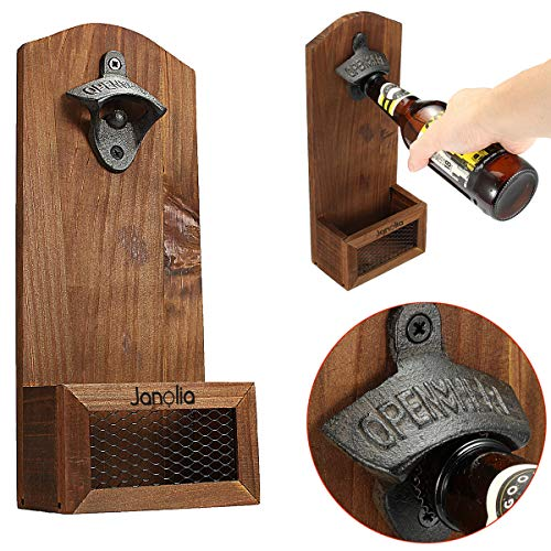 Janolia Wooden Wall Mounted Bottle Opener With Cap Catcher, Vintage Style, A Gift For Father, Your Friends