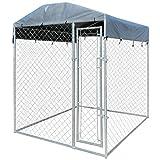 Festnight Chenil extérieur pour chien avec toit en bâche 200 x 200 x 235 cm