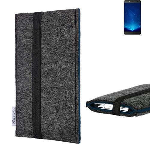 flat.design Handyhülle Lagoa für Bluboo Maya Max | Farbe: anthrazit/blau | Smartphone-Tasche aus Filz | Handy Schutzhülle| Handytasche Made in Germany