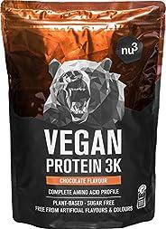 nu3 Veganistisch Eiwit 3K Shake - 1Kg Chocolademix - vegan protein gemaakt van 3-componenten eiwit met 70% eiw