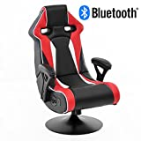 WOHNLING Soundchair SPECTER II in Rot-Schwarz-Weiß mit Bluetooth | Racing Musiksessel mit eingebauten Lautsprechern | Multimediasessel für Gamer | 1.1 Soundsystem - Subwoofer | Music Gaming Sessel Rocker Chair