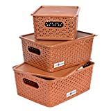 #5: Basket For Storage Set of 3 With Lid Brown Color