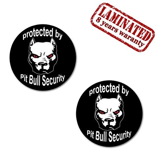 2 x Adesivi Divertente Vinile Funny Stickers Protected By Pitbull Dog Security Cane Guardia Per Auto Moto Casco Scooter Bici Motociclo Tuning B 104