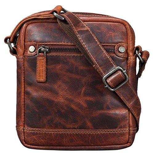 STILORD 'Pepe' Vintage Schultertasche Herren Leder klein Umhängetasche für Männer kompakte Cross Body Bag mit Schultergurt und Reißverschluss aus echtem Leder, Farbe:Milano - braun