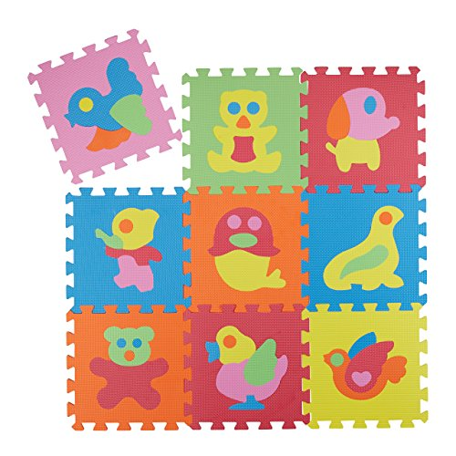 Relaxdays Puzzle Spielmatte 51 tlg, Tier Motiv Kindermatte, EVA Schaumstoff, Puzzlematte BxT: 90 x 90 cm, bunt