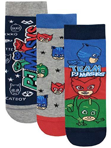 PJ Masks Jungen Catboy Owlette Gecko Socken Packung mit 3 Paar Mehrfarbig 31/36