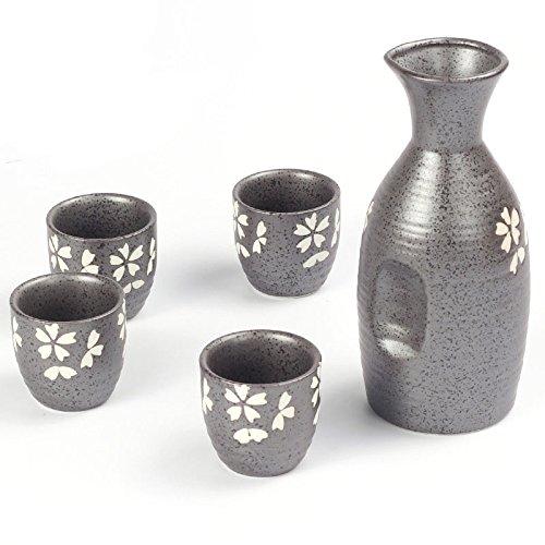 TENGGO 350Ml Cherry Blüten Sake Bottle & Cups Set Von 5 Pcs Ceramics Hip Flask Wine Mug