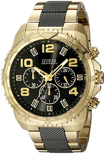 GUESS pour Homme U0598g4en Acier Inoxydable Couleur Or et Noir Montre chronographe