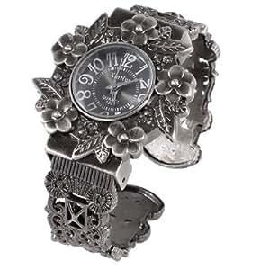 sourcingmap® Lady Flower Decor Round Dial Metal Band Quartz Bangle Watch Bronze Tone