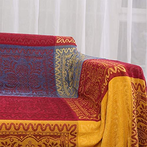 PDXTZ Chenille-Überwurfdecke, Vintage-Jacquard-Quasten, doppelseitig, Patchwork-Decke, warm, luxuriös, dekorativ für Zuhause, Büro, Reisen, Tibet Red, 150 * 190cm,150 * 190cm -