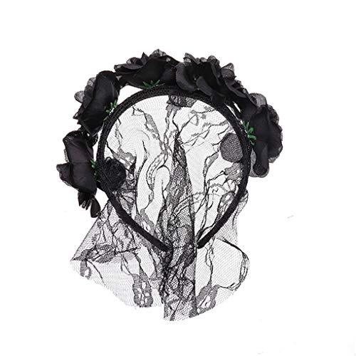 Dorical Halloween Frauen-Rosen-Haarband Mesh-Schleier-Blumen-Stirnband-Kostüm Cosplay-Haar-Zusätze Kopfband Kostüm Accessories für Frauen(Schwarz)