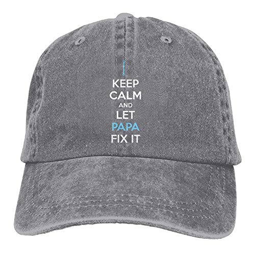 Adult Cotton Adjustable Denim Hat Gym Caps - Keep Calm and Let Papa Fix It