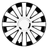 14 Zoll Bicolor Radzierblenden ONYX (Weiß/Schwarz mit Chromring). Radkappen passend für fast alle FORD wie z.B. Galaxy 1 WGR