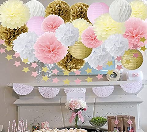 Or Rose Blanc crème papier de soie pompons Guirlande de fleurs en papier Étoile en papier papier papier de soie en nid d'abeille Boule de mariage Baby Shower anniversaire de mariage Décoration de fête