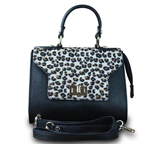 Made in italy sac à main/pochette de soirée sac à main femme en cuir en hobo fourrure noir/blanc marron